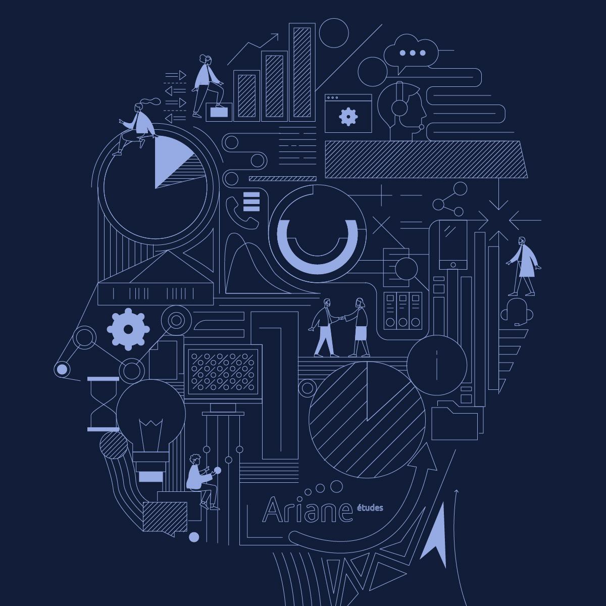 Composition d'éléments graphiques et du logo Ariane Etudes, représentant un visage