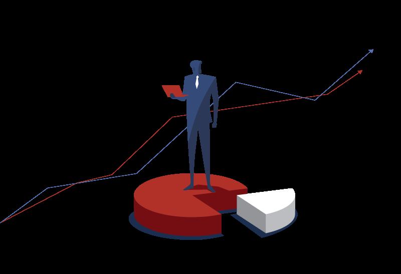 homme tenant un ordinateur debout sur un camembert statistiques