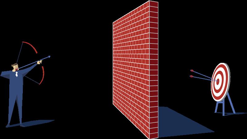 Homme essayant de tirer une flèche sur une cible en passant par dessus un mur